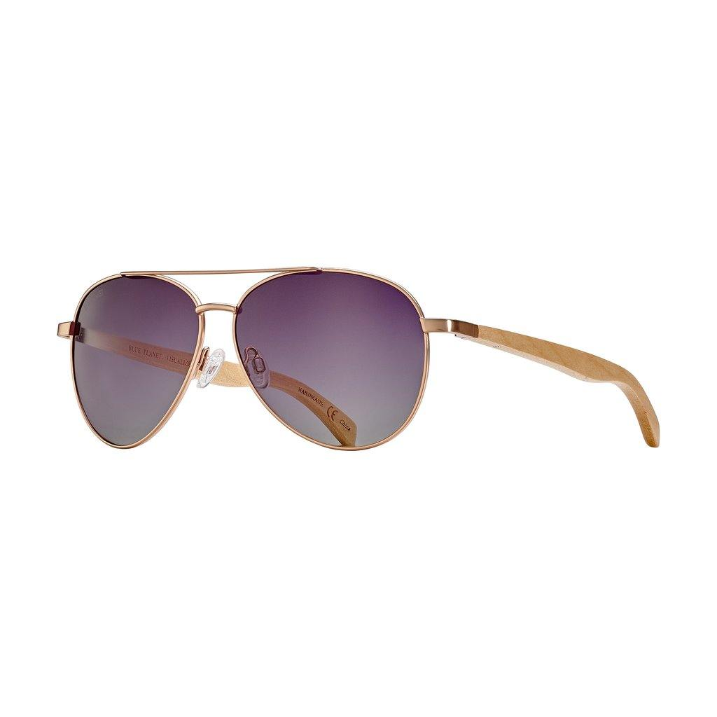 Amador Sunglasses, Rose Gold and Beechwood