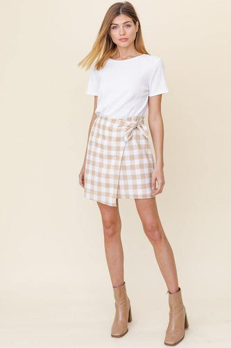 Alicia Skirt, White/Taupe - Rose & Lee Co