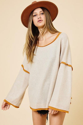 Arlette Top, Taupe - Rose & Lee Co