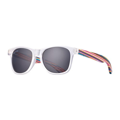 Indio Sunglasses, Frost Clear and Rainbow Wood