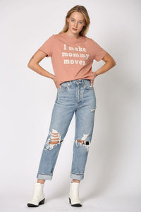 I Make Mommy Moves Tee, Dusty Pink