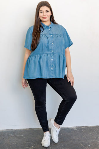 Chambray Top (Curvy), Blue
