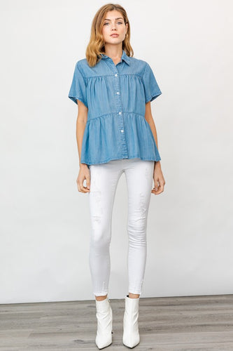 Chambray Top, Blue