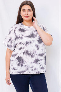 Cora Top (Curvy), White/Grey