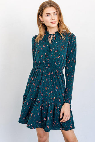 Leyla Dress, Green Paisley