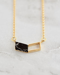 Charlotte Necklace, Chevron Black + Gold