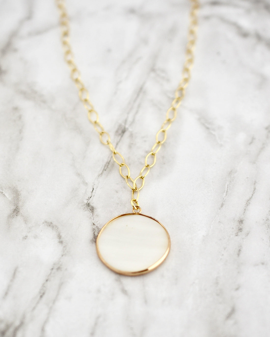 Lauren Necklace, Pearl Coin
