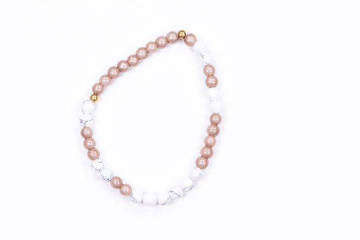 Morse Code Daughter Mini Bracelet, Gold & Marble