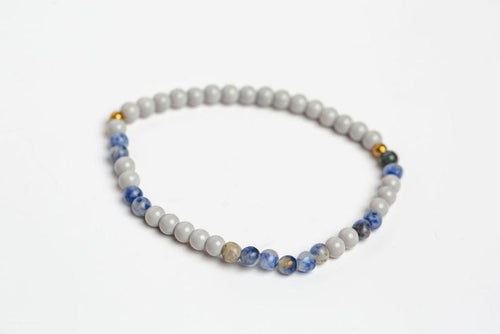 Morse Code Daughter Bracelet, Light Grey & Lapis