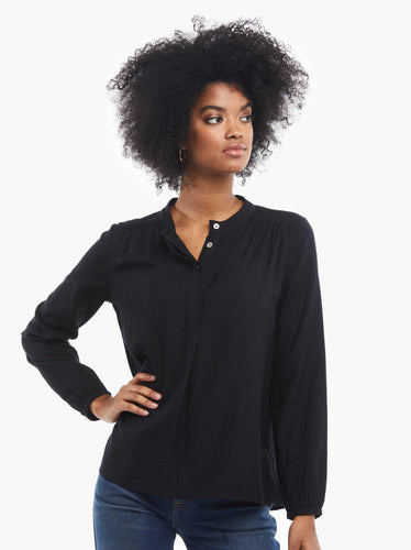 Audrey Popover Blouse, Black - Rose & Lee Co