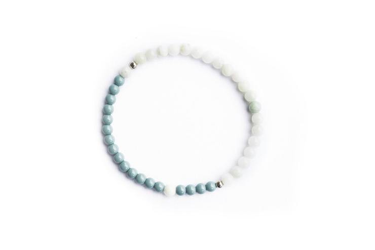 Morse Code Joy Bracelet, Airy Blue & Light Green