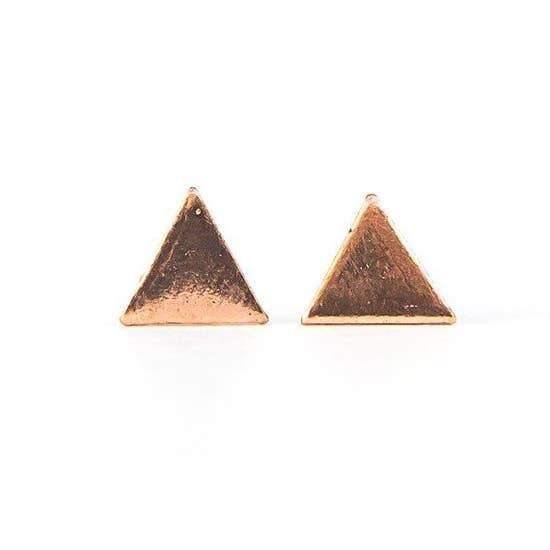 Triangle Studs, Rose Gold