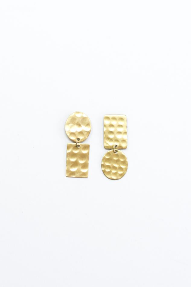Hammered Flipped Shapes Earrings, Gold