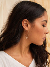 Load image into Gallery viewer, Pearl Adornment Hoop Earrings