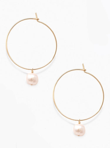 Pearl Adornment Hoop Earrings