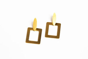 Square Gold Dangle Earring