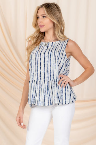 Coraline Top, White/Blue
