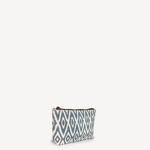 Small Waterproof Pouch, Blue Ikat