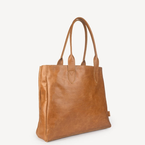 Heena Leather Tote, Camel