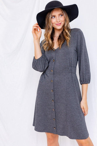 Cynthia Dress, Charcoal