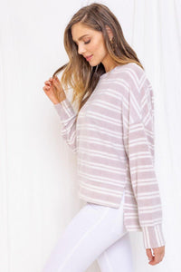 Vienna Top, Taupe/Ivory