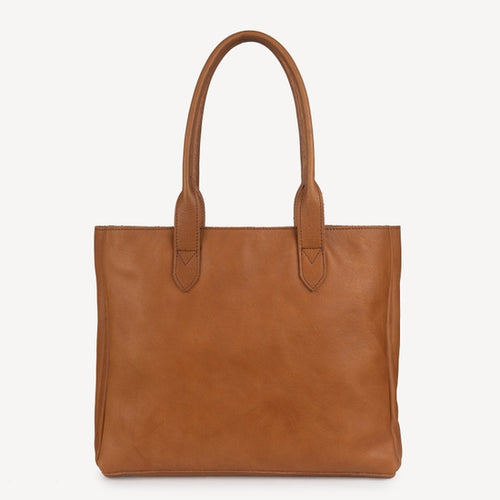 Heena Leather Tote, Light Brown