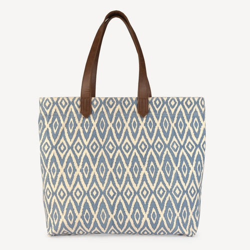 Chaaya Canvas Tote, Blue Ikat