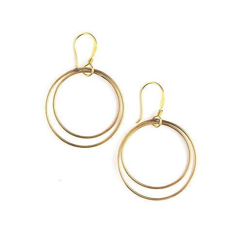 Double Moon Earrings, Brass