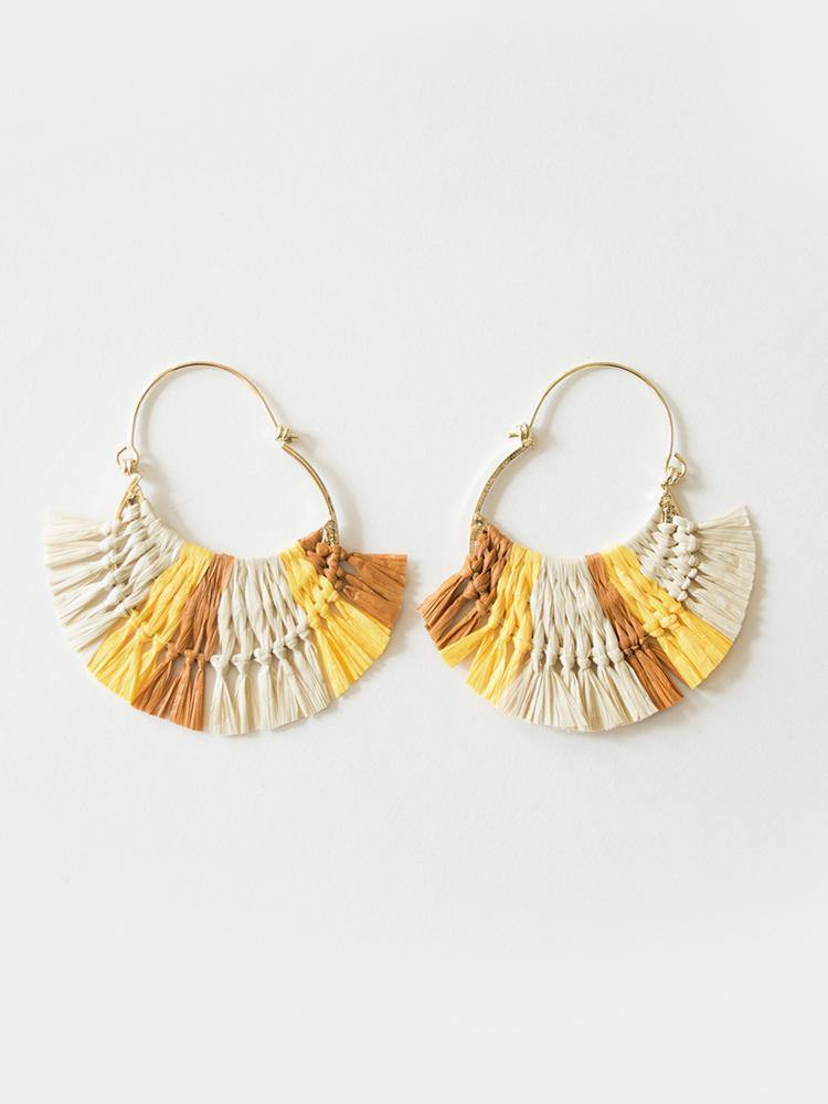 Caramel Hoop Earrings, Yellow