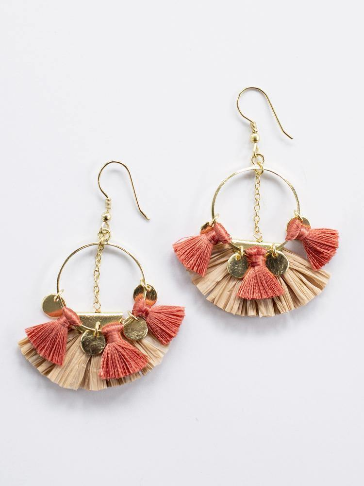 Raffia Charm Earrings, Pink