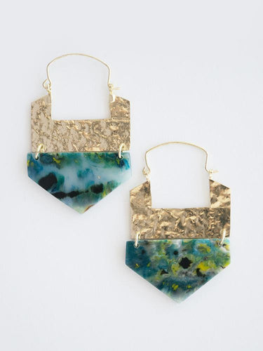 Resin Hook Earrings, Green