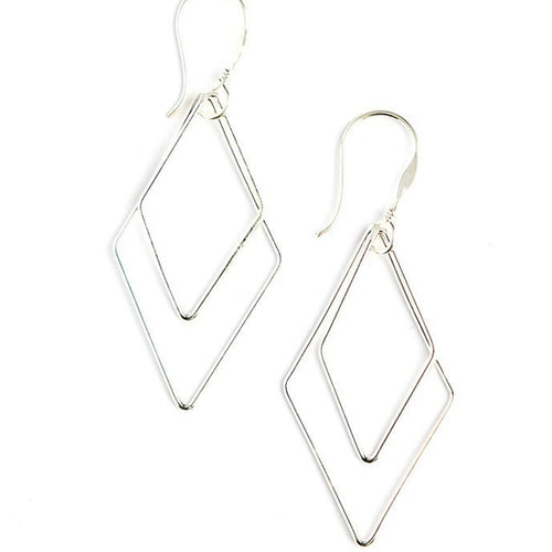 Rhombus Dangle Earrings, Silver