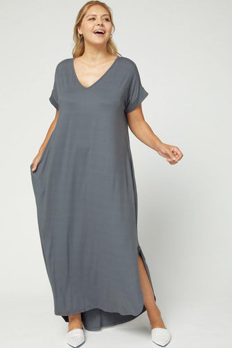 Marybeth Dress, Charcoal (Curvy)