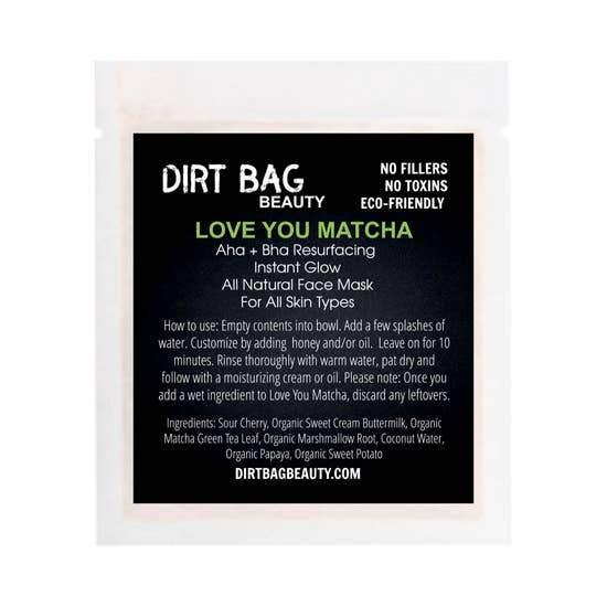 Dirt Bag Single Use Masks, Love You Matcha