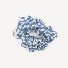 Load image into Gallery viewer, Large Silk Scrunchie, Blue Ikat