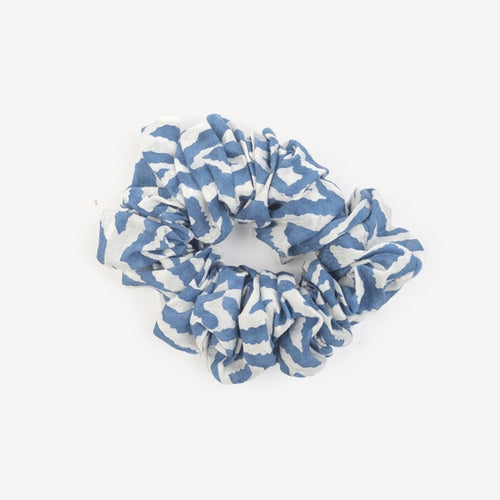 Large Silk Scrunchie, Blue Ikat