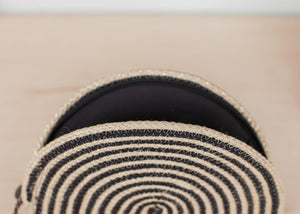 Black Stripe Half Moon Purse