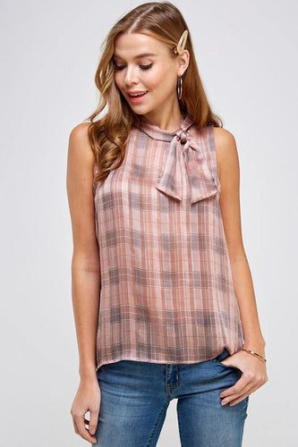 Lauren Top, Pink Plaid