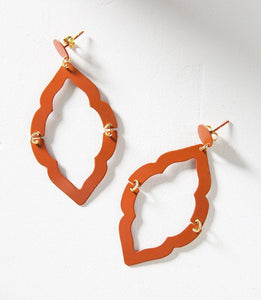 Nihira Ashram Window Earrings, Red