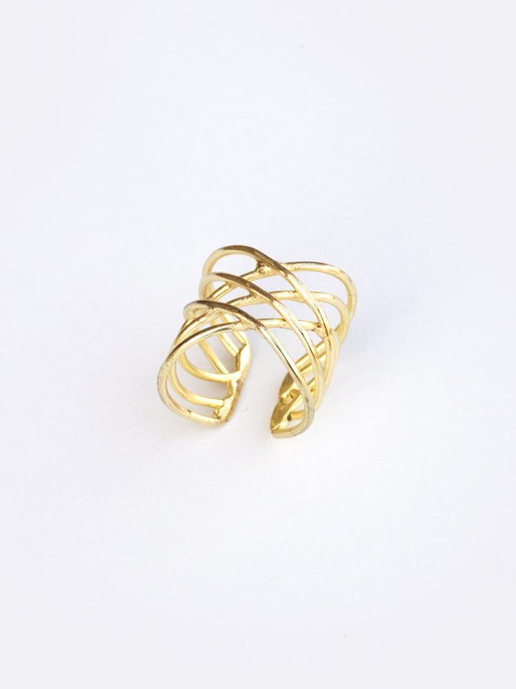Layered Oval Ring, Gold