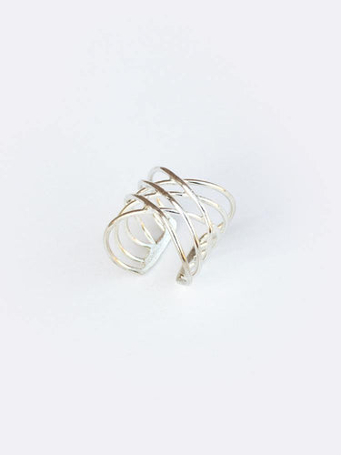 Layered Oval Ring, Silver