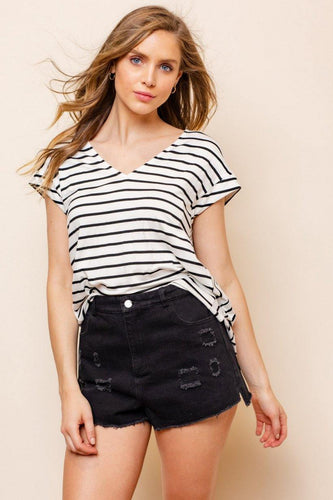 Ellen Top, Off White & Black