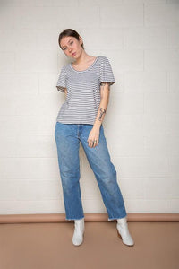 Tali Top, Navy/White Stripe