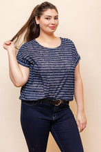 Load image into Gallery viewer, Helen Top (Curvy), Navy & White
