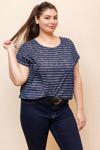 Helen Top (Curvy), Navy & White