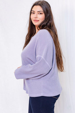 Lilah Sweater (Curvy), Lavender