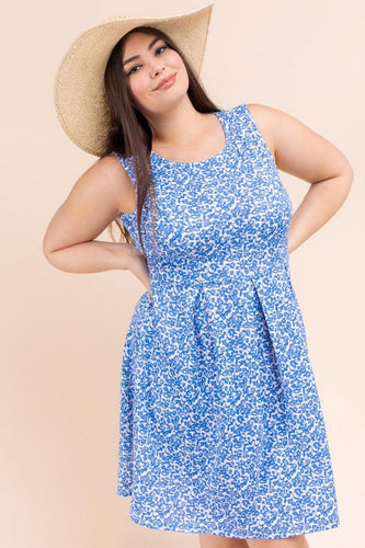 Giselle Dress, Off White/Blue (Curvy)