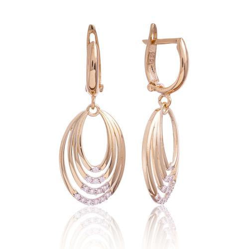 Yellow Gold Graduating Ovals Cz Drop Earring