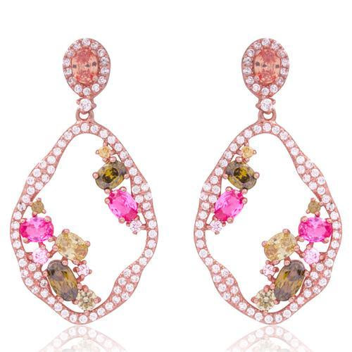 Rose Gold Multi Colored Cz Open Irregular Oval Earring