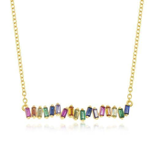Rainbow Baguette CZ Bar Necklace in Yellow Gold